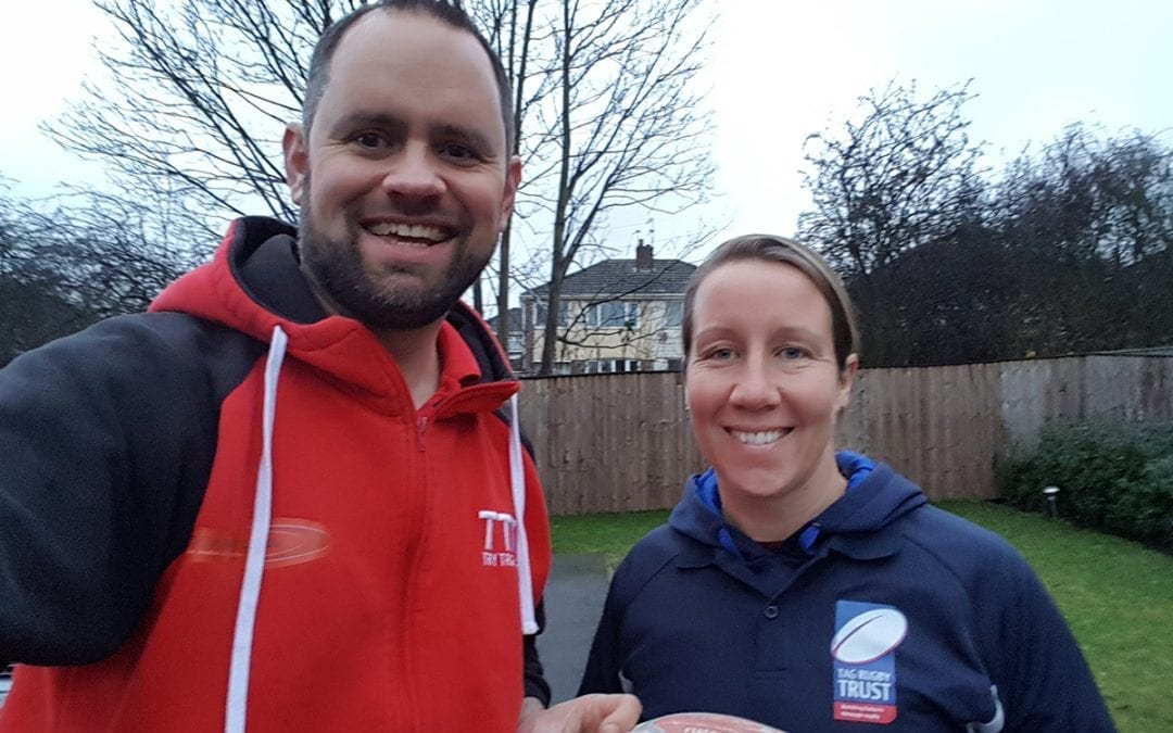 Try Tag Rugby Yorkshire & Manchester donate 100 balls to the Tag Rugby Trust
